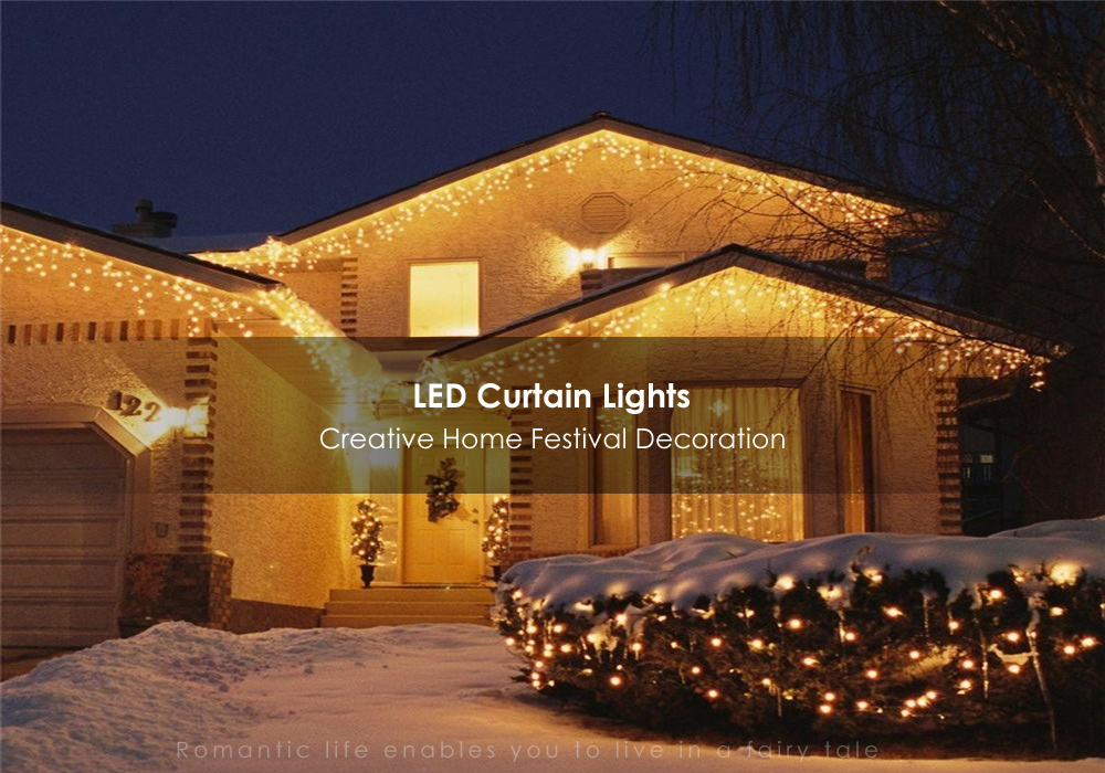 Kwb Led Christmas Lights Outdoor Decoration 3 5m Droop Curtain Icicle String White