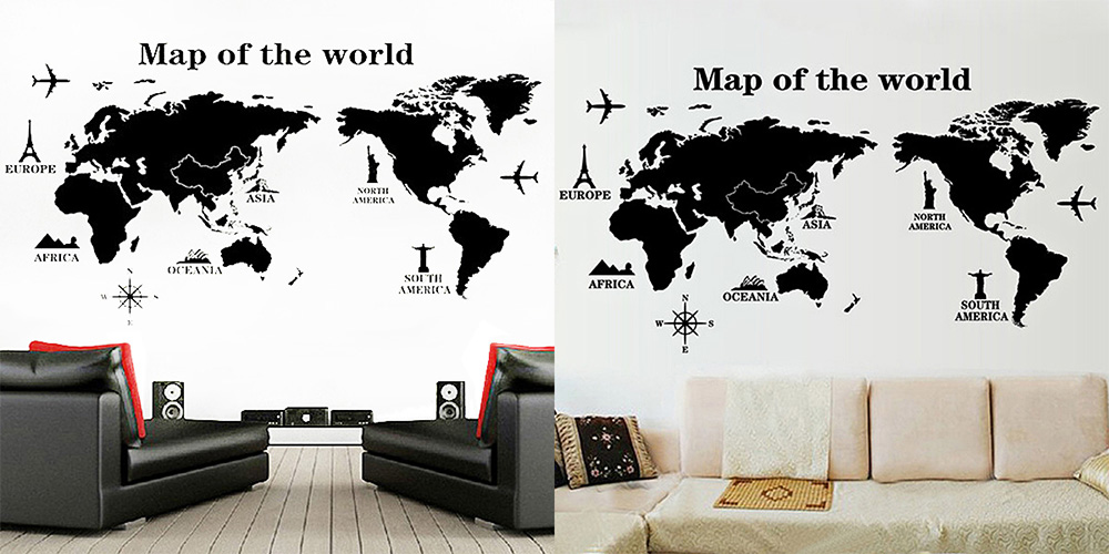 World map wall sticker online deals gearbest 31 off diy home decor world map wallpaper wall sticker gumiabroncs Gallery