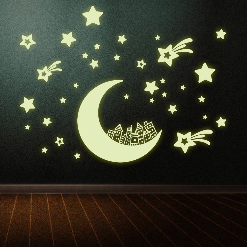 Moon Star Design Home Decor Luminous Wall Sticker