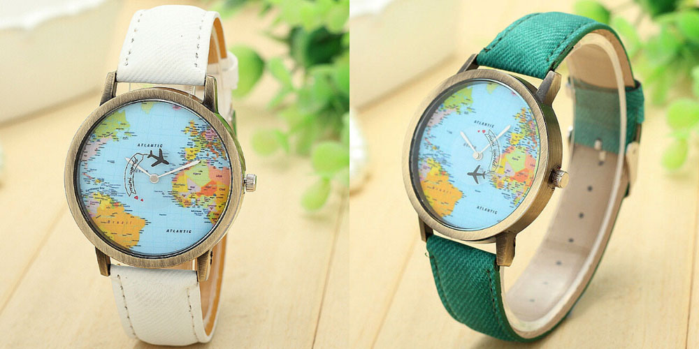 Casual World Map Plane Pattern Wrist Watch Online Shopping - Maps of planes shipping goods us to brazil