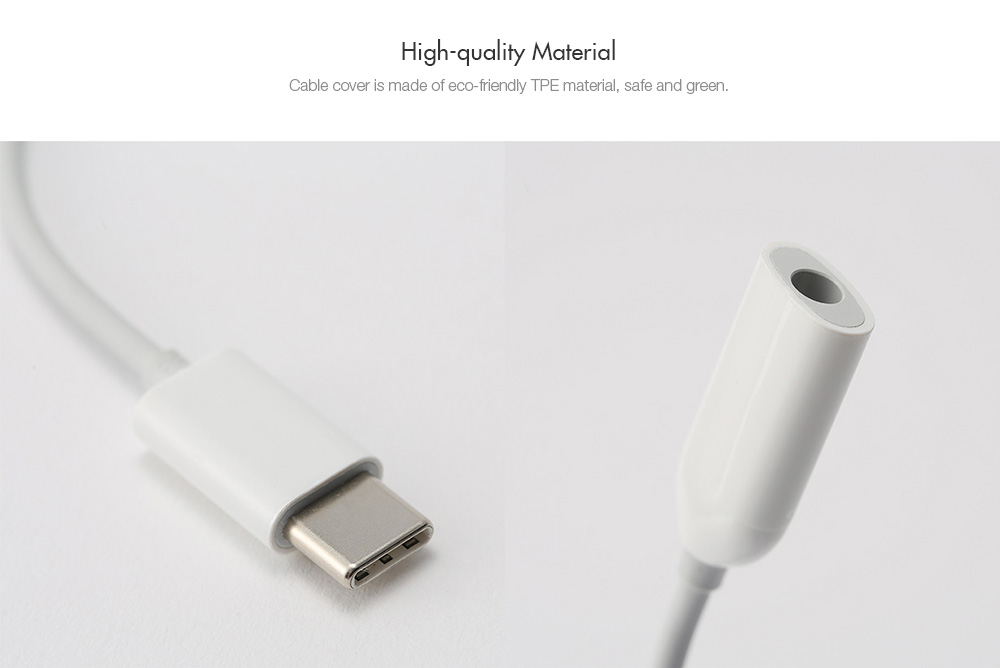 Original Xiaomi Type-C USB to Audio 3.5mm Jack Cable- White