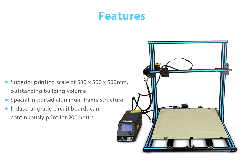 Creality3D CR - 10S5 500 x 500 x 500mm Enlarged Version 3D Printer DIY Kit- Blue and Black US