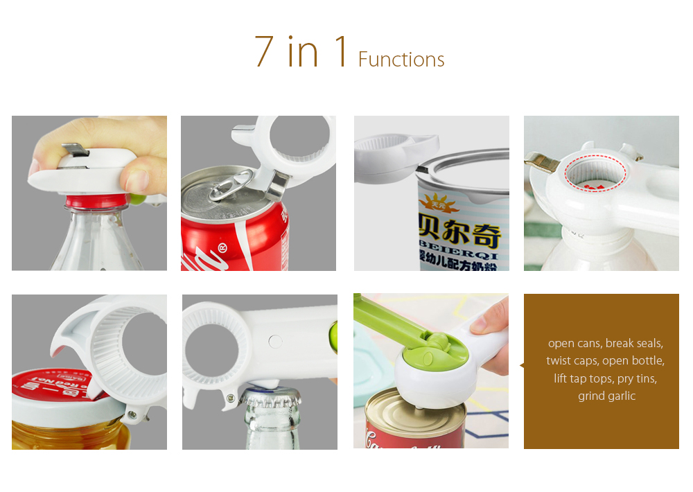 Multifunctional Plastic Can Tin Bottle Opener Easy Open Portable Manual Ergonomic Kitchen Tool