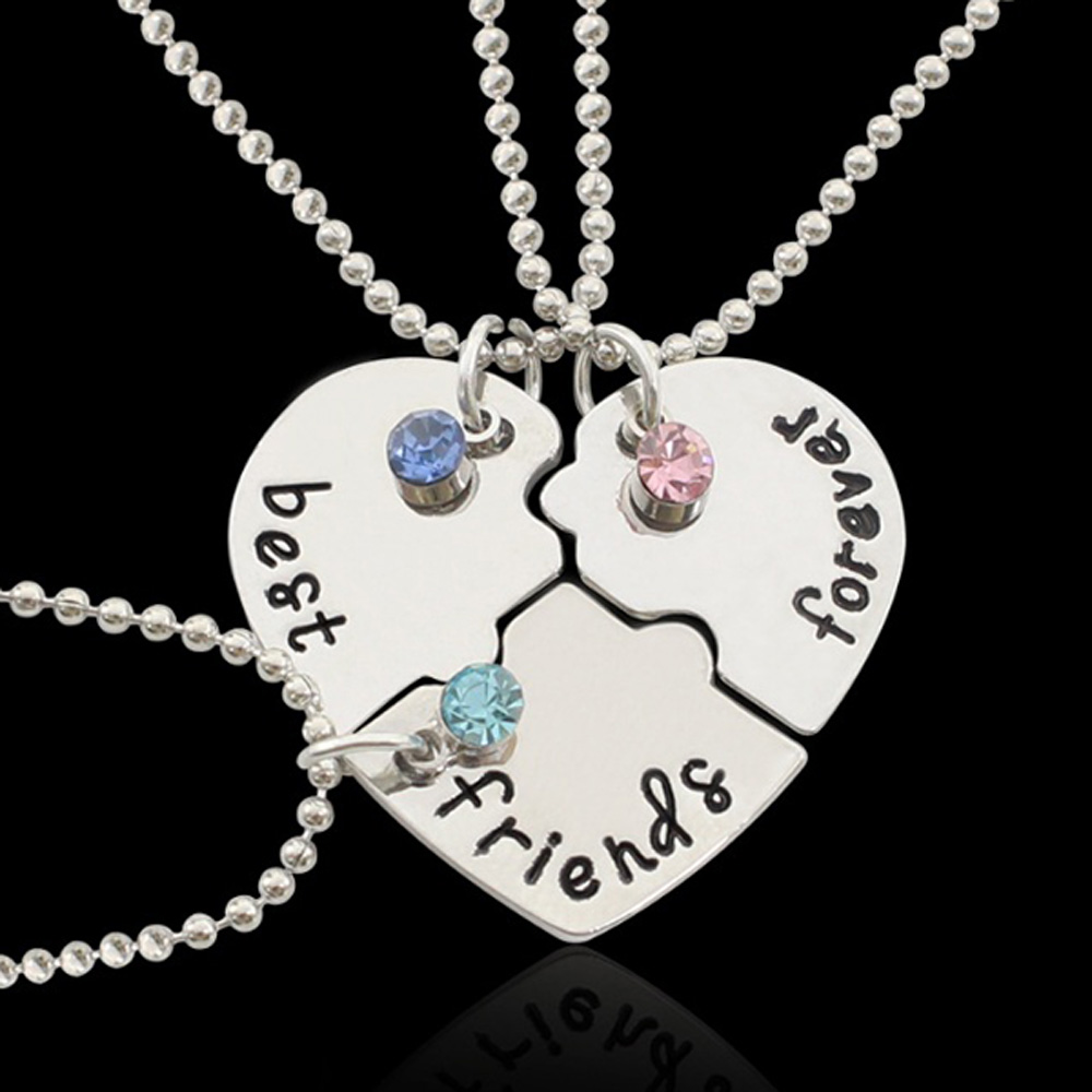 3PCS Heart Style Alloy Necklace for Best Friend