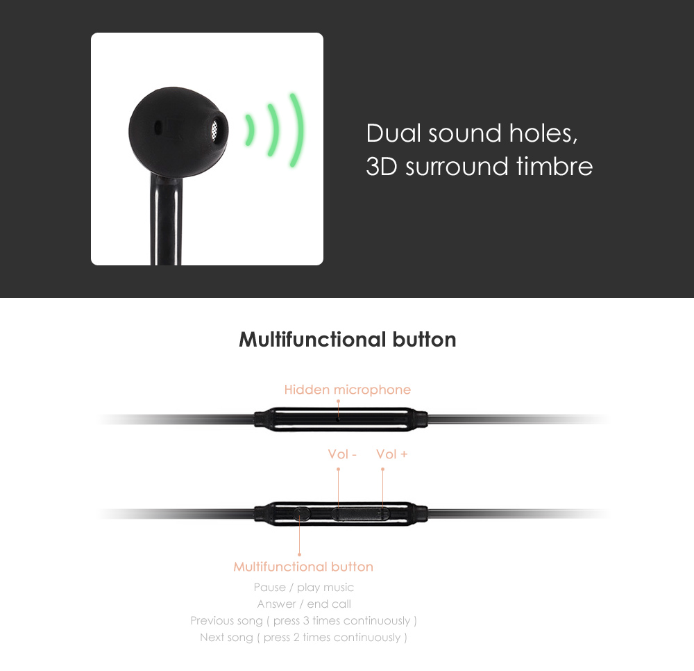 K20 Universal 3.5mm Wired In-ear Stereo Earphones with Mic
