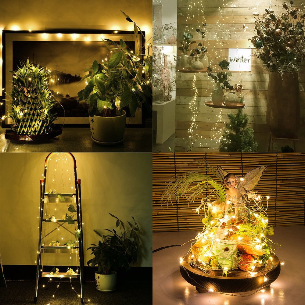 Supli Led String Lights Battery Operated 12M(2M x 6) 120 Leds Copper Wire Lights for Indoor Home Valentines Day Wedding Party