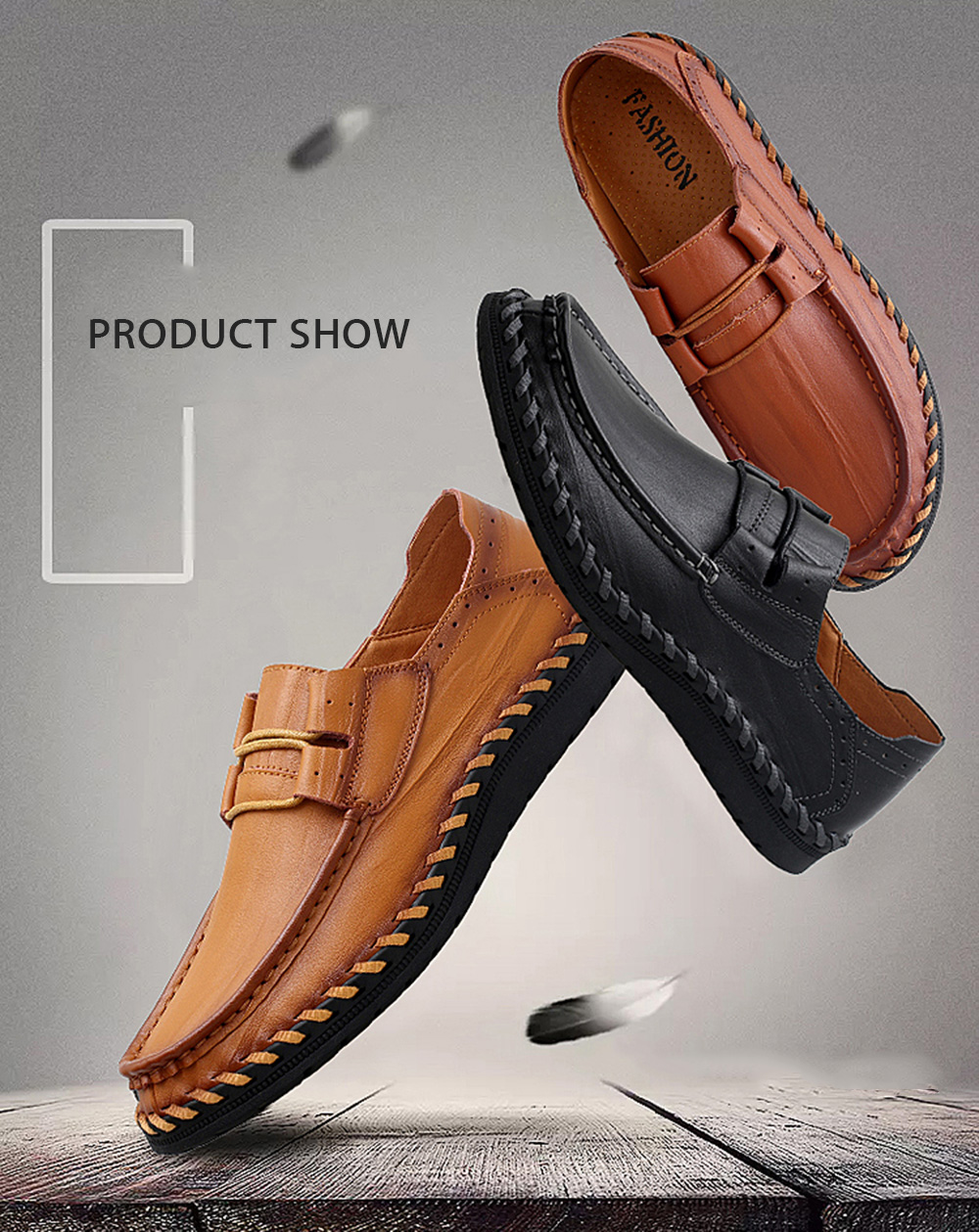 Soft Elastic Band Decorative Casual Loafer Oxford Shoes for Men
