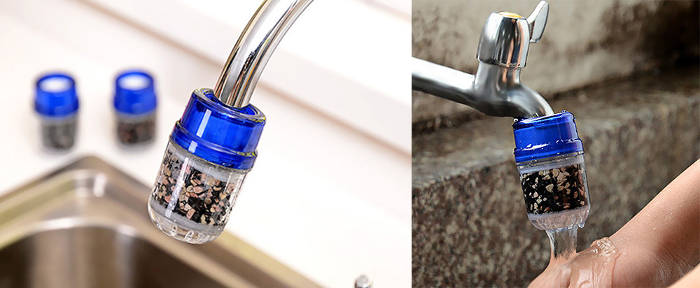 Universal Activated Carbon Tap Water Purifier Kitchen Faucet Filter Home Hotel Health Care Tool- Blue