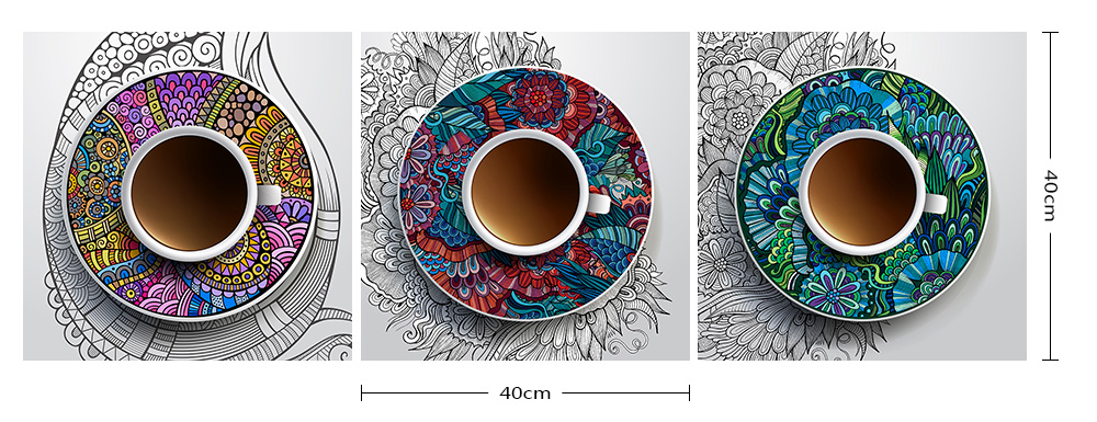 3pcs Colourful Abstract Coffee Cup Painting Canvas Print Rs0 00