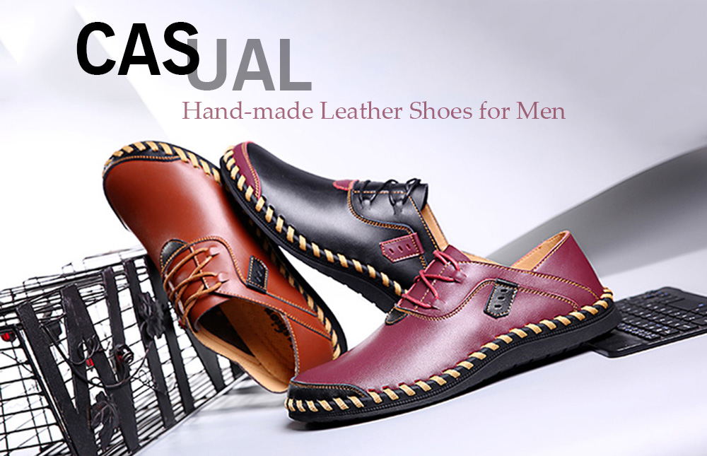 Soft Flat Stitching Manual Casual Oxford Shoes for Men