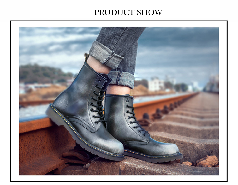 Men Fashionable Genuine Leather Martin Boots