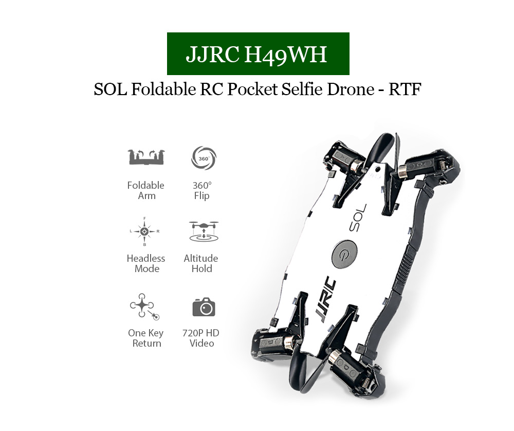 JJRC H49WH SOL Mini Foldable RC Quadcopter RTF WiFi FPV 720P HD / Altitude Hold / One Key Transformation