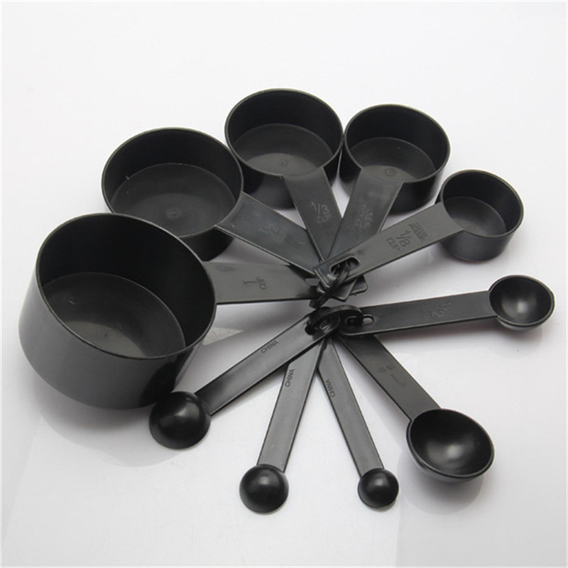 Black Plastic Measuring Cups 10PCS / LOT Measuring Spoon Kitchen Tools for Baking Coffee Tea- Black