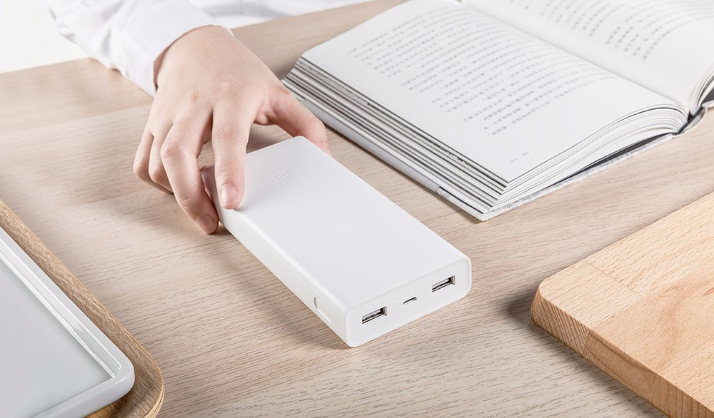 Original Xiaomi Mobile Power Bank 2C 20000mAh Dual USB Bi-directional Quick Charge- White