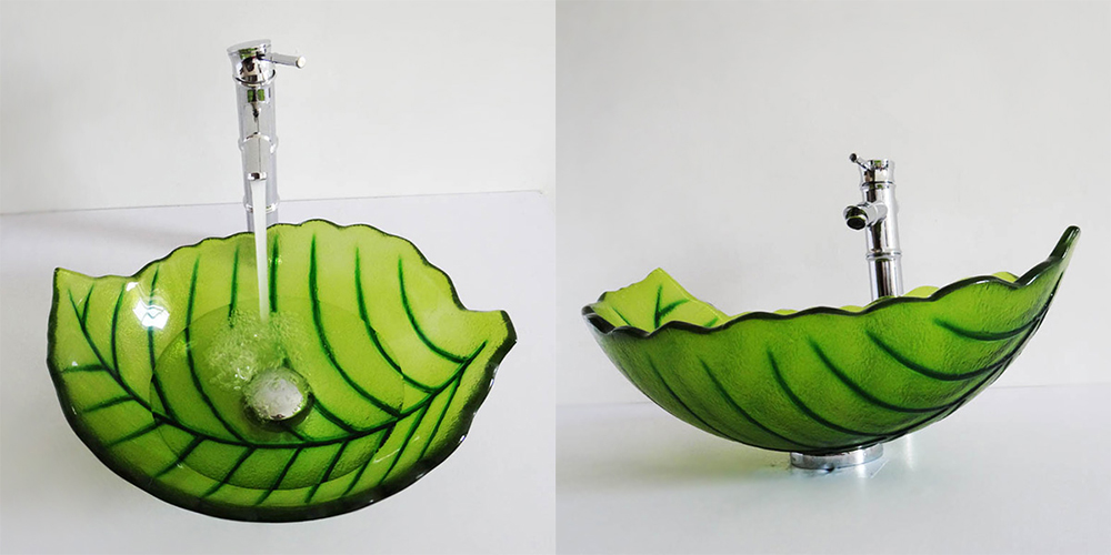 Little Green Leaf Shape Artistic Sink Washing Basin with Faucet ...
