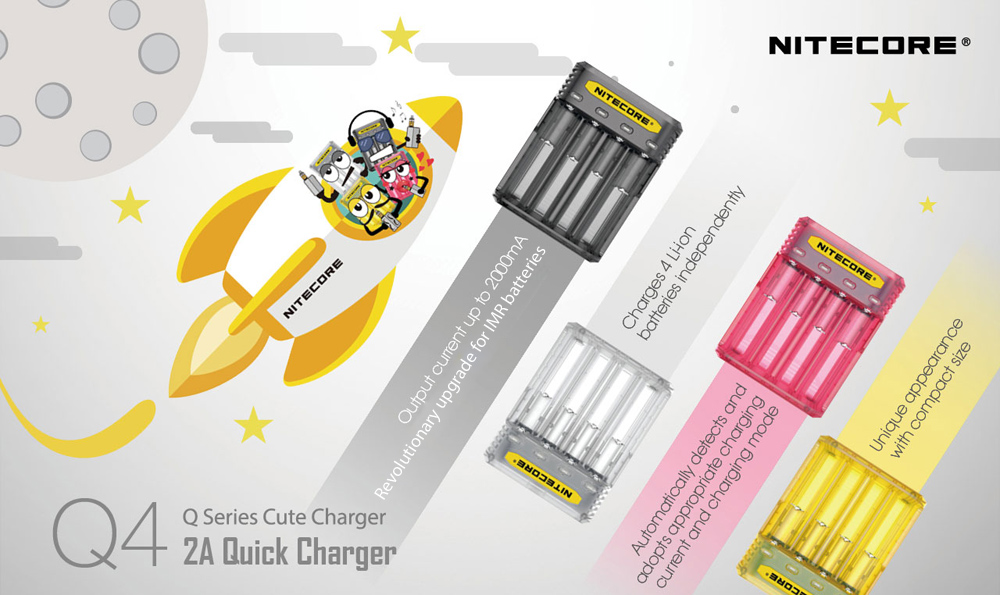 Nitecore Q4 Q Series Cute 2A Carregador rápido para IMR / Li-ion Battery