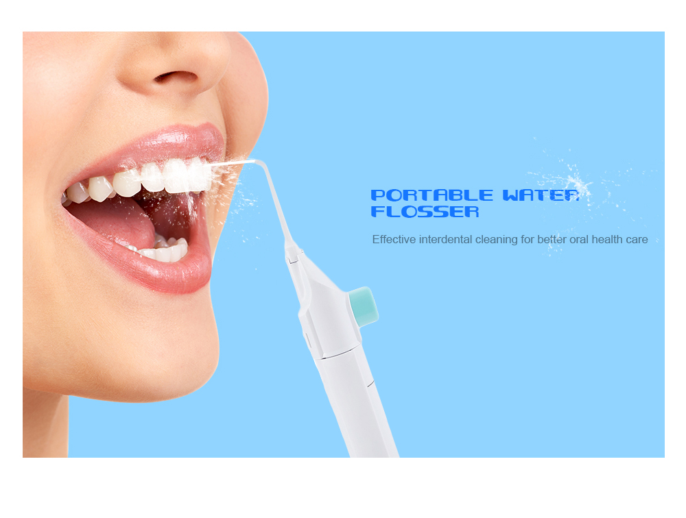 80ml Portable Dental Water Flosser Cordless Teeth Cleaning Tool- Snow White
