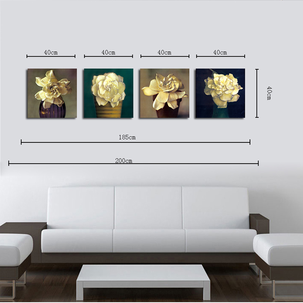 hx art no frame canvas four sets of painting into white flowers decorated the living - Living Room Paintings