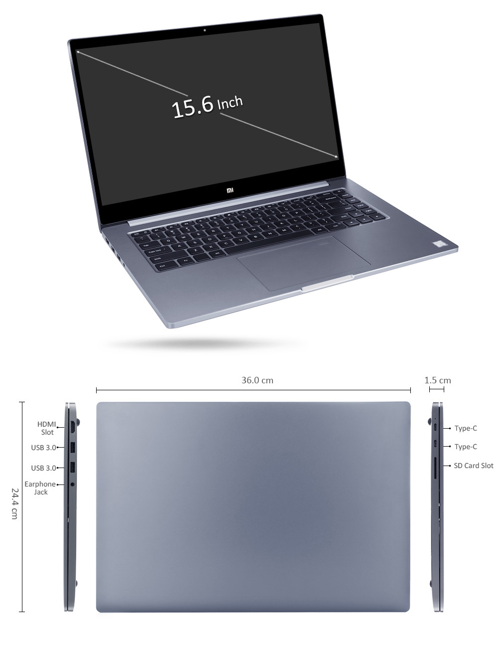 Xiaomi Mi Notebook Pro 15.6 inch Windows 10 Chinese Version Intel Core i7-8550U Quad Core 1.8GHz 16GB RAM 256GB SSD Dual WiFi HDMI