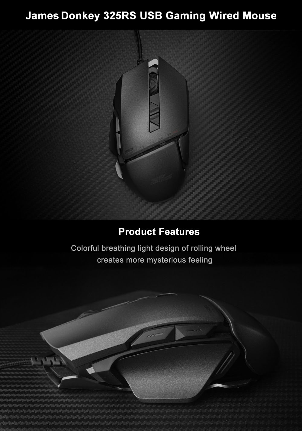 James Donkey 325rs Usb Gaming Wired Mouse 3282 Free Shipping Optic Laser 5 Tombol With Led Backlight Iron Grey