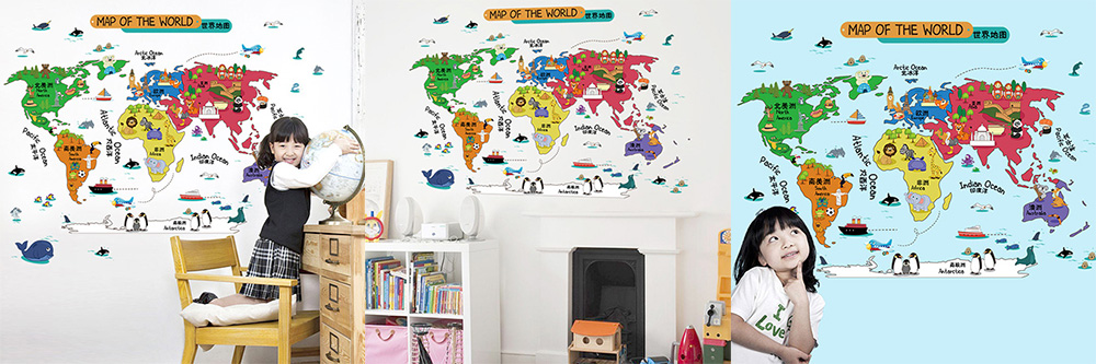 Laima cartoon world map wall sticker decorative decals 619 free laima diy cartoon world map wall sticker removable mural decals for home decoration gumiabroncs Images
