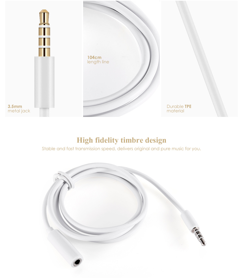 104cm 3.5mm Female to Male Headphone Extended Cable for Earphones / Headphones