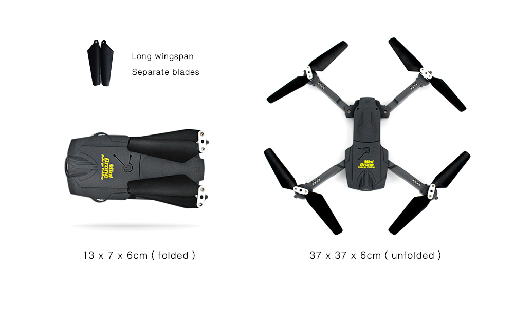 PEG116 Foldable RC Quadcopter RTF WiFi FPV 0.3MP Camera / Headless Mode / Separate Blades