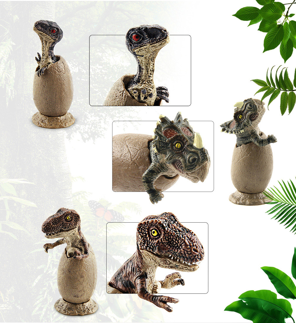 Baby Dinosaur Egg Style Model Toy with Plastic 3PCS- Soil