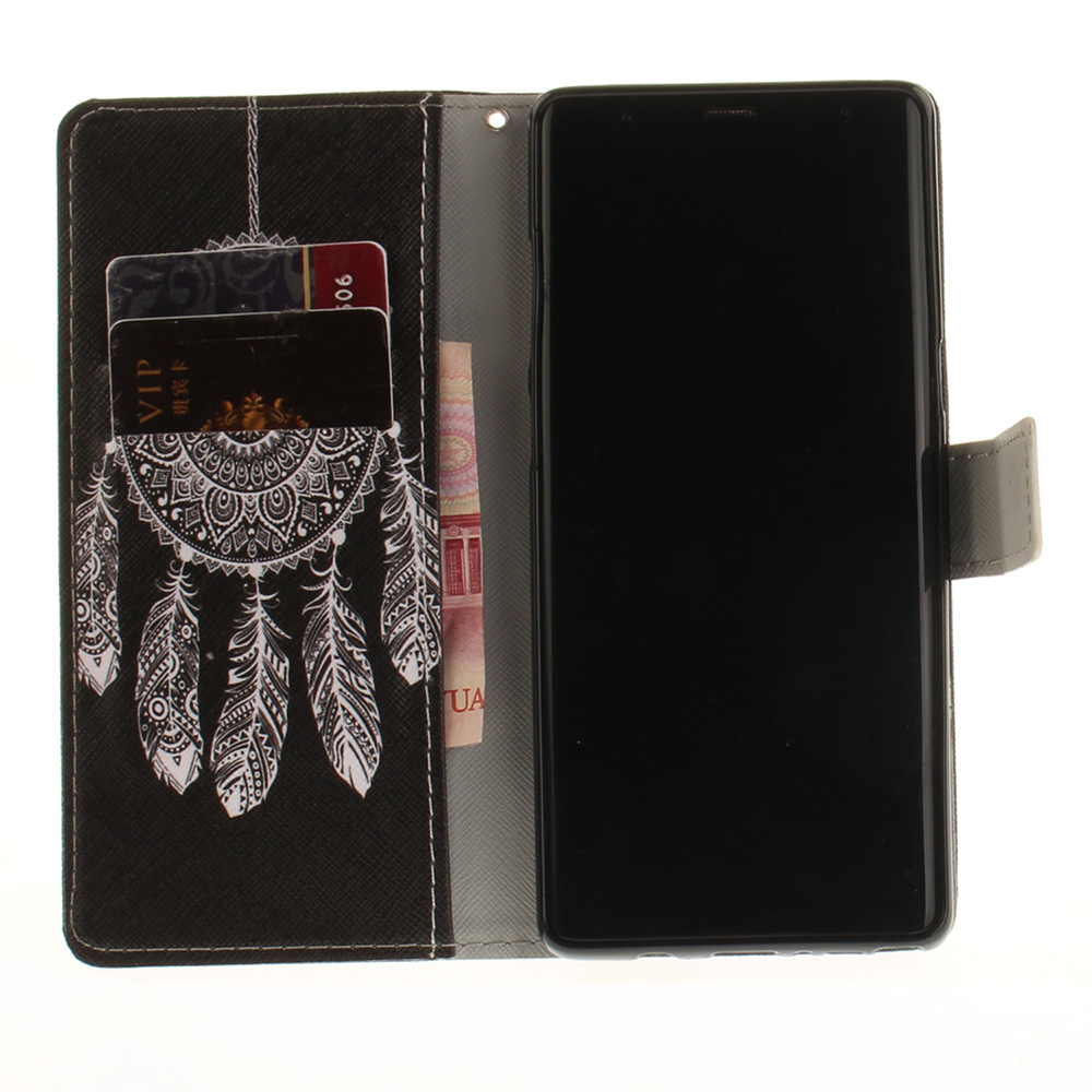 Card Holder Wallet with Stand Flip Pattern Full Body Case Cover Wind Chime Pu+Tpu Leather for Samsung Galaxy Note 8