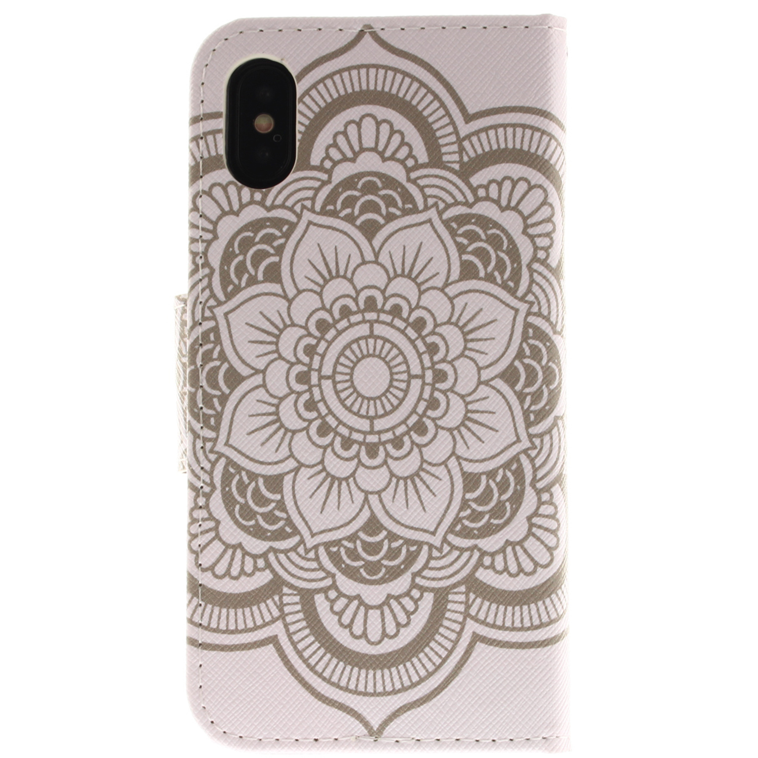 White Flowers Pu Tpu Leather Wallet Case with Card Holder Magnetic