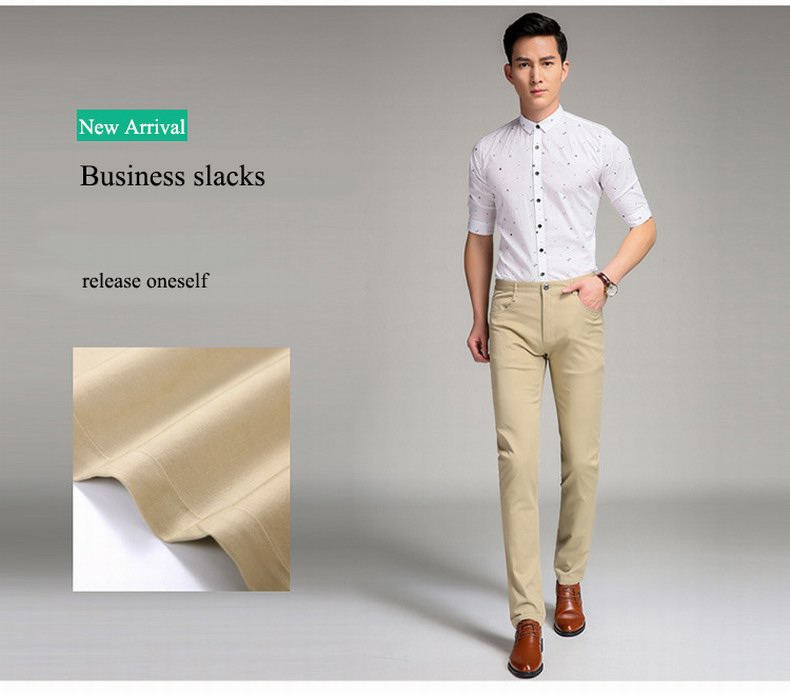 05f7fa7b223 Baiyuan Trousers Business Casual Slim Fit Mens Suit Pants Khaki- Khaki 30