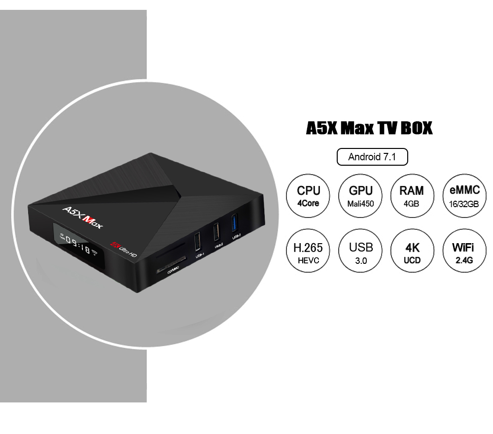 A5X Max RK3328 Quad-Core Android 7.1 TV Box