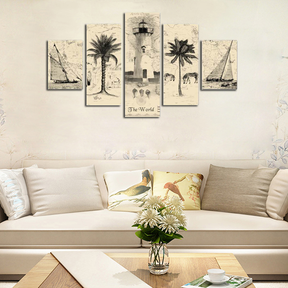 HX ART No Frame Canvas Five Set Painting Abstract Palm Tree Living Room  Decoration Part 54