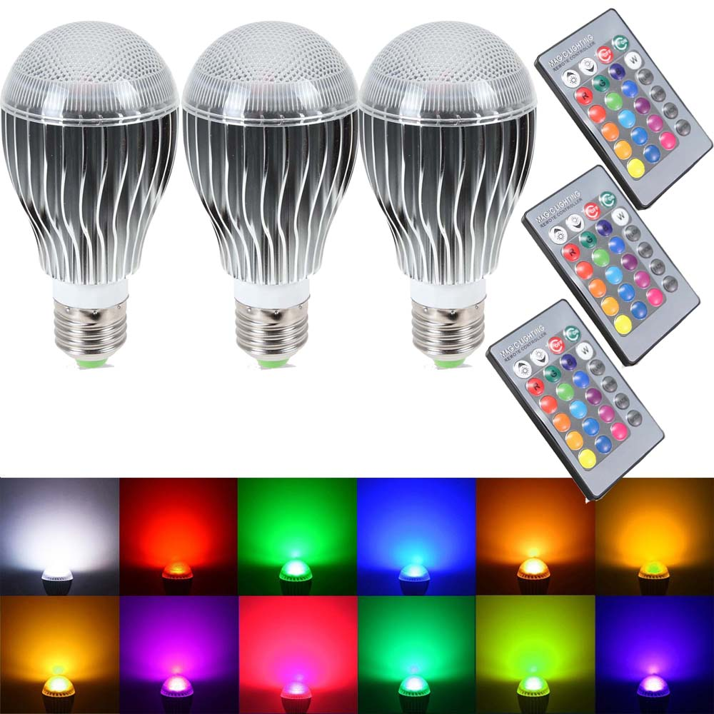 Supli Led Light Bulb 10w Rgb Color Changing Dimmable Bulbs Non Lighting Controller With Remote Control
