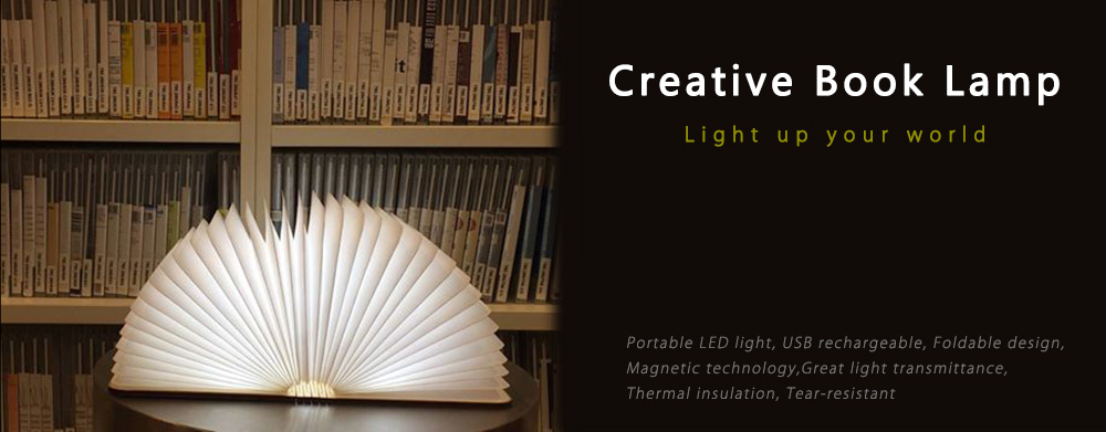 ZBOLE Decorative Foldable Paper Book LED Warm Light USB Rechargeable Novelty Wooden Lamp