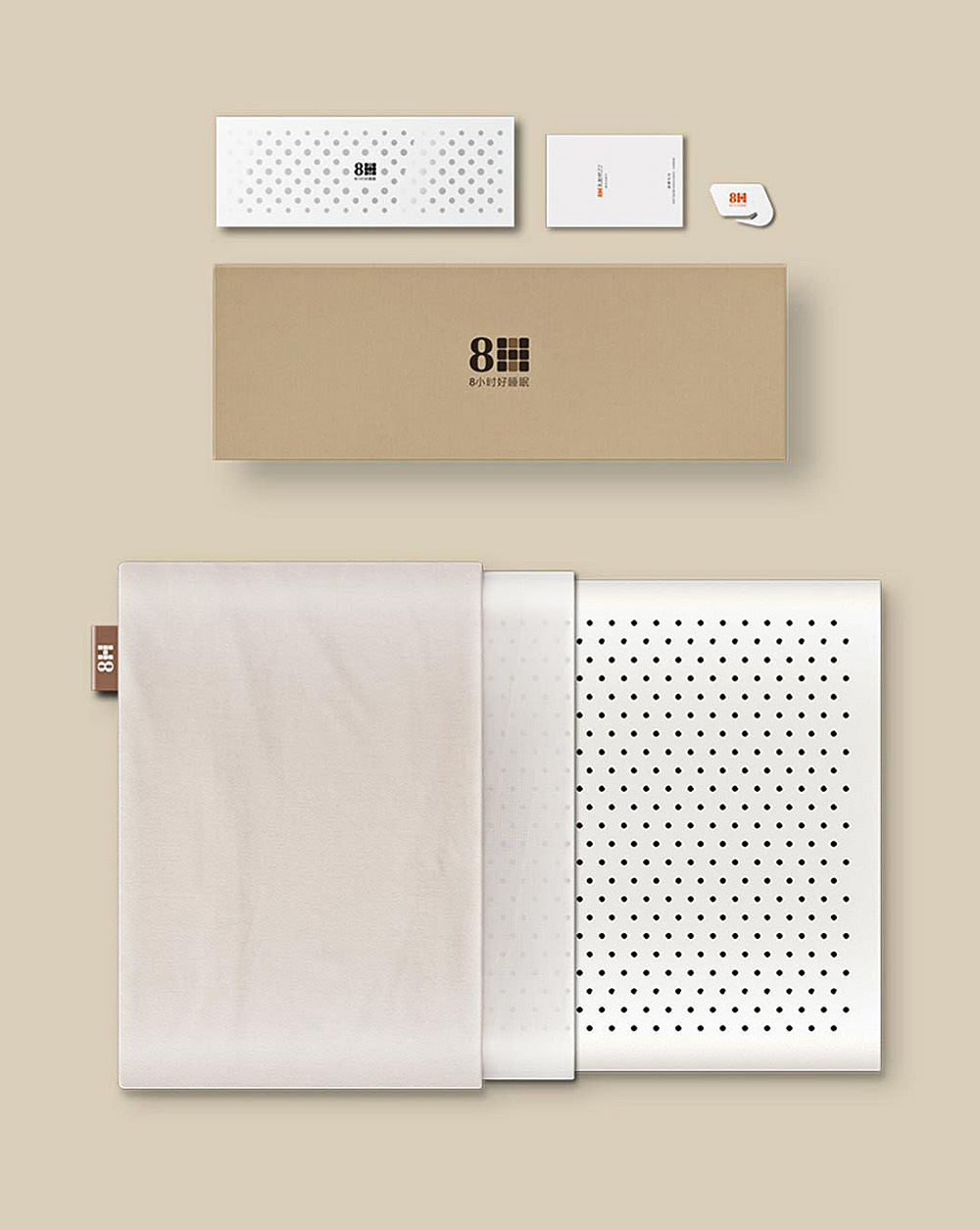8H Cool Feeling Slow Rebound Memory Foam Cotton Pillow Z2 Super Soft Antibacterial Neck Support Cushion from Xiaomi youpin- Beige