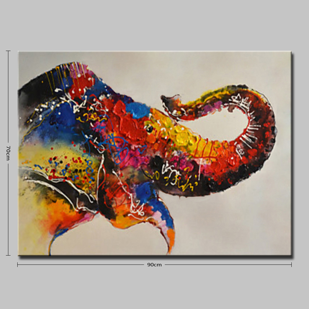 Mintura Hanging Oil Painting Abstract Elephant Wall Art