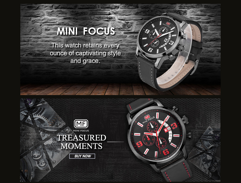 MINI FOCUS MF0025G 4296 Leisure Classic Leather Band Men Watch