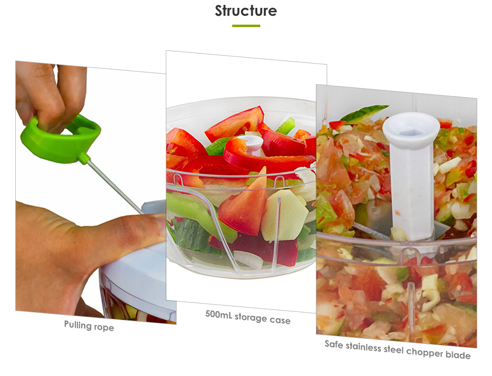 Vegetable Fruit Food Chopper Hand Held Rope Pull Out Type Kitchen Tool
