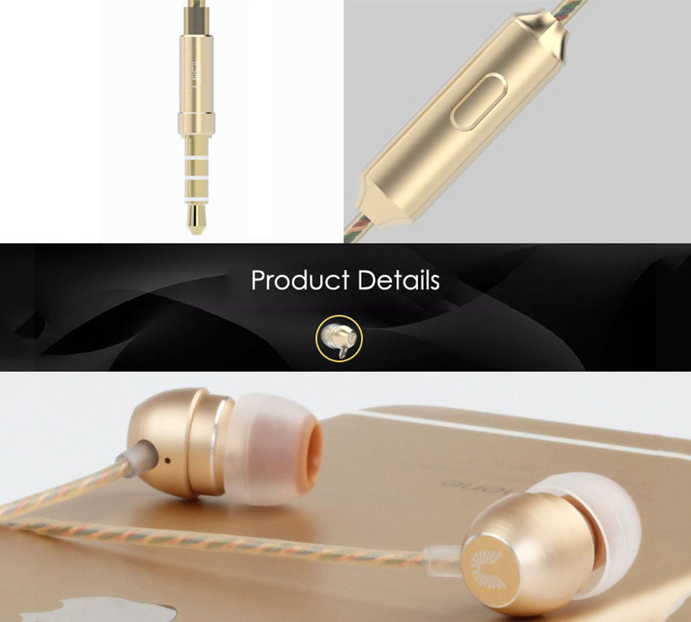 UIISII HM7 In-ear Wired Fragrance Music Earphones with On-cord Control- Golden