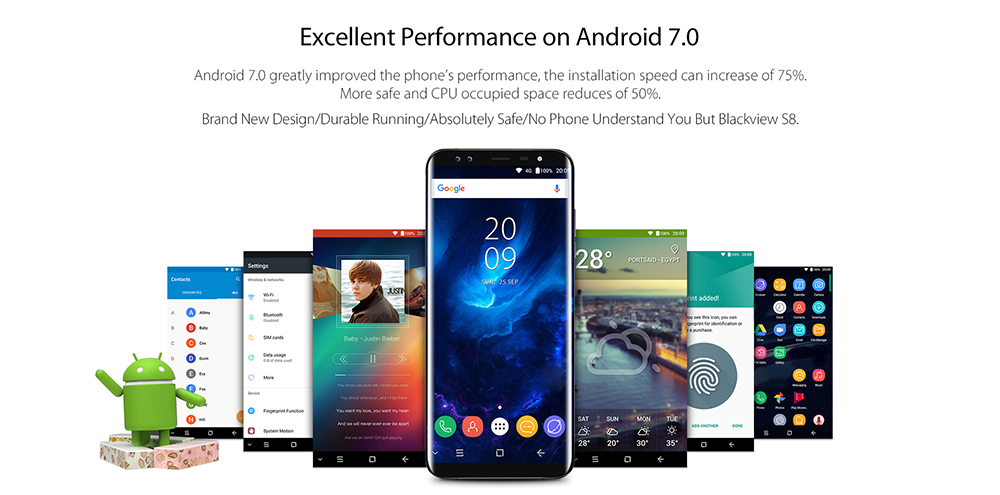 Blackview S8 4G Phablet 5.7 inch Android 7.0 MTK6750V 1.5GHz Octa Core 4GB RAM 64GB ROM 8.0MP + 0.3MP Dual Front Cameras Touch Sensor