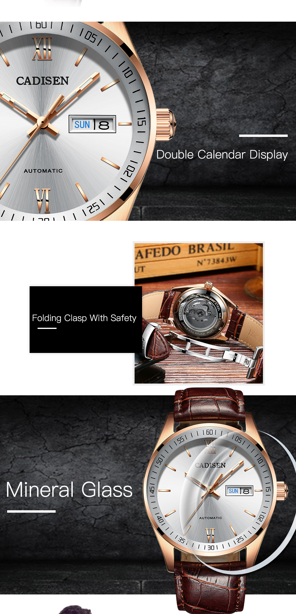 Hot Sale Cadisen Men Watches Top Luxury Sapphire Glass 50M Waterproof Automatic Mechanical Business Role Style Watch- Brown Leather Band+White Dial