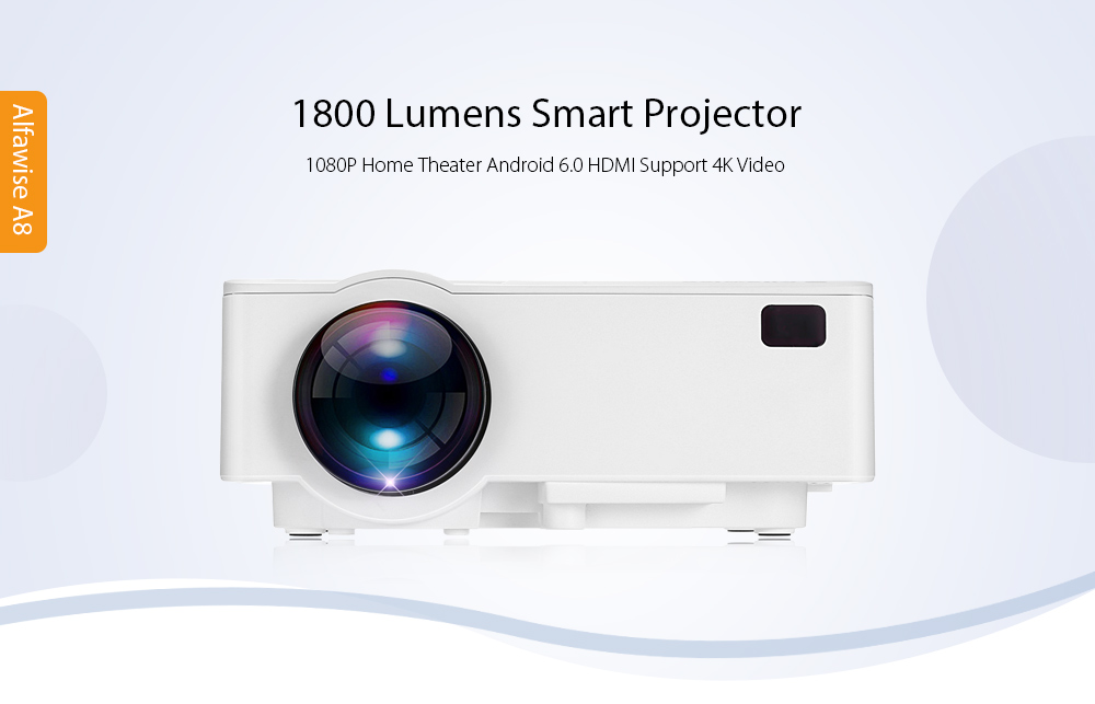 Refurbished Alfawise A8 1800 Lumens 1080P Smart Projector Amlogic S905X Android 6.0 BT4.0 HDMI Support 4K Video- US Plug Android Version