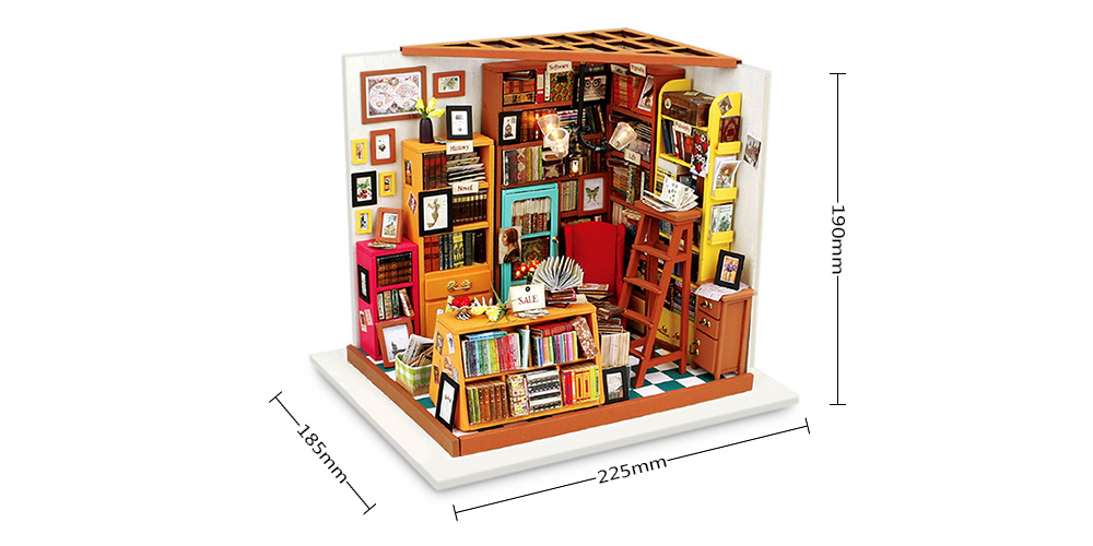 ROBOTIME Wooden DIY Dollhouse Furniture Kit Library