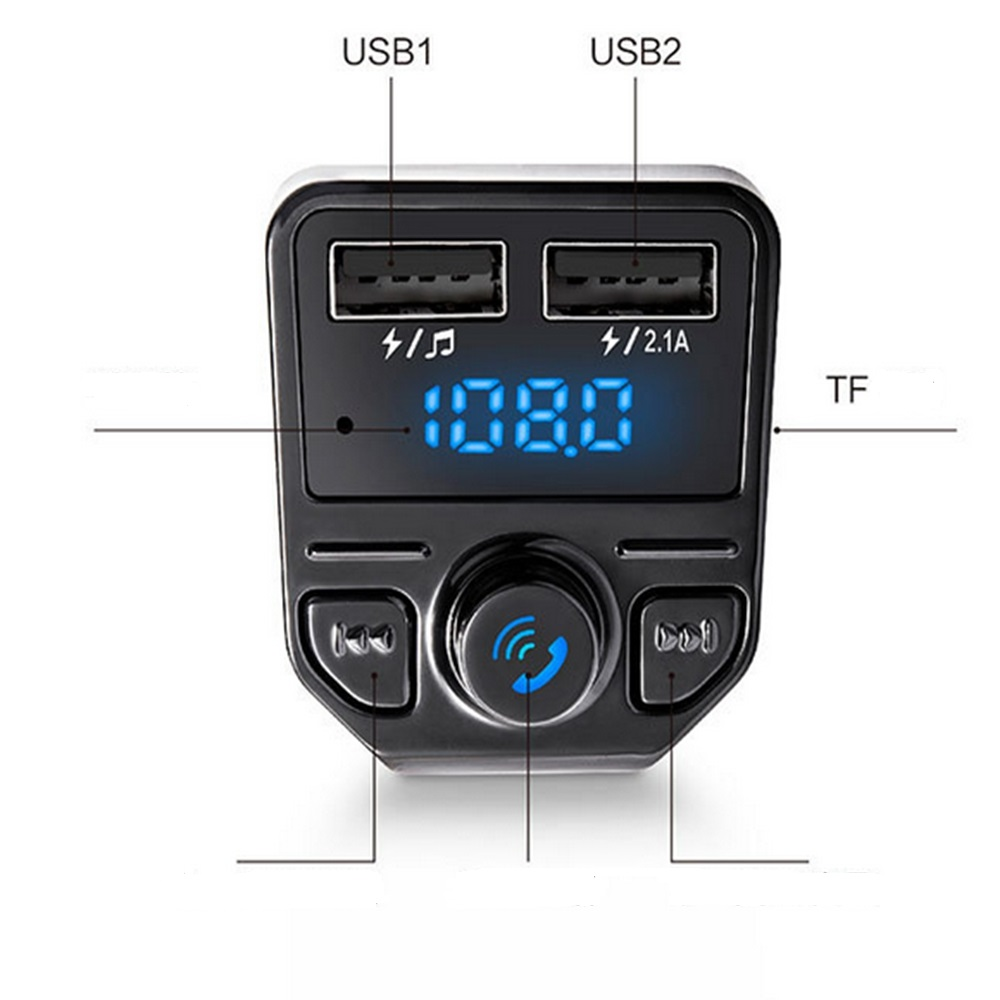X1 Car Bluetooth Kit with Hands-free FM Transmitter Dual USB Charger MP3 Music Player- Ebony