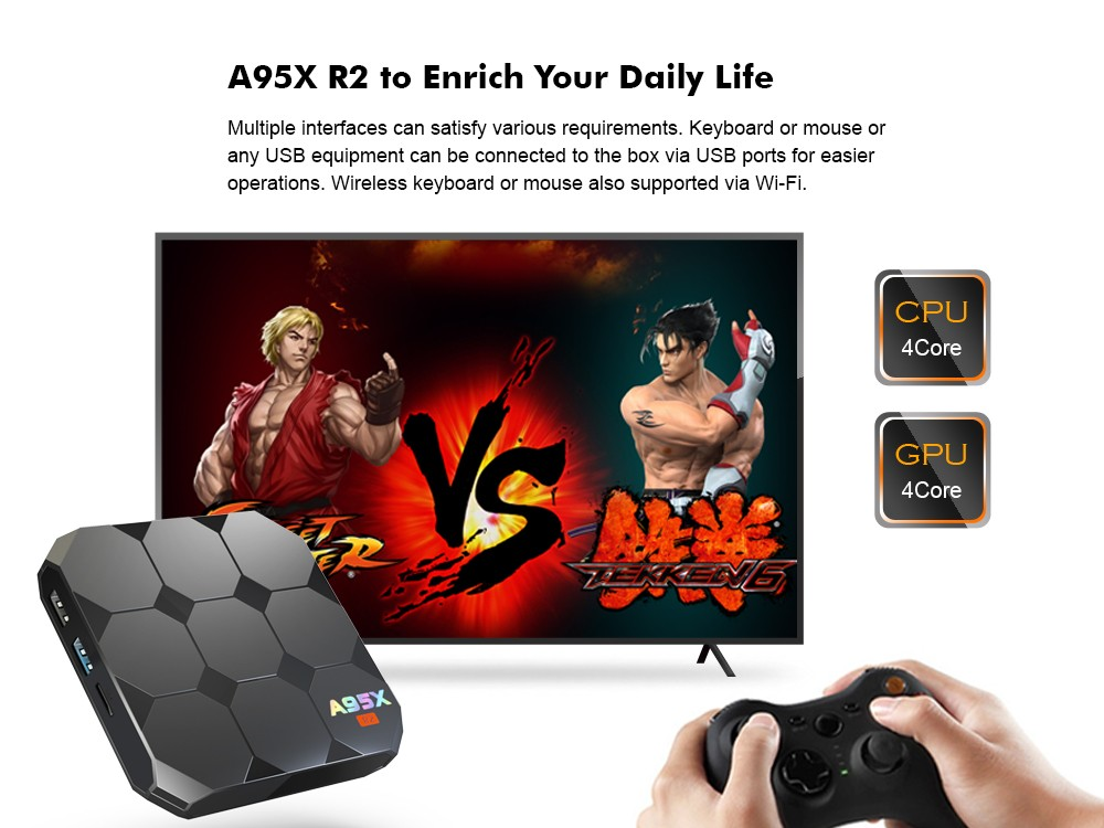 A95X R2 TV Box Amlogic S905W 2.4GHz WiFi Android 7.1