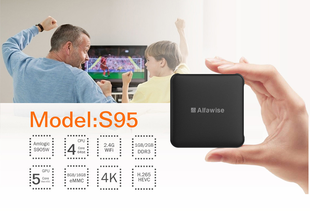 Alfawise S95 Amlogic S905W TV Box Android 7.1 2.4GHz WiFi 4K 100Mbps LAN