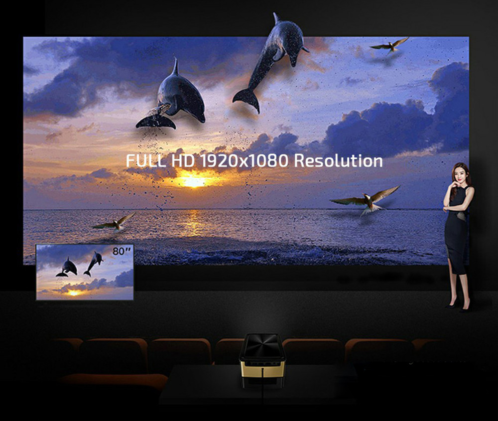 JmGO V8 1100 ANSI Lumens Full HD Projector 1080P Android 5.0 Bluetooth 4.4