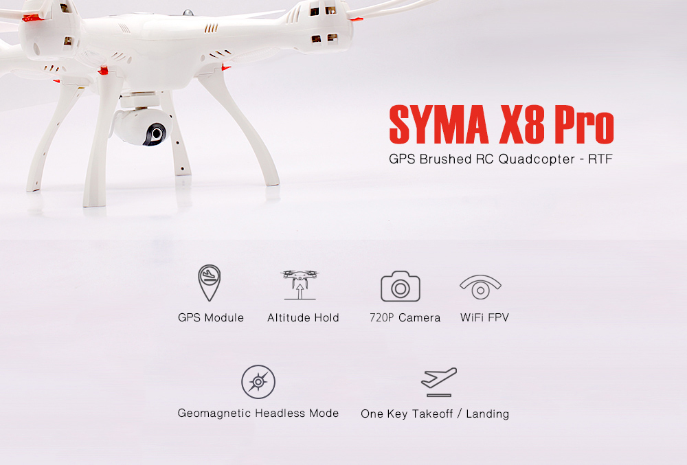 SYMA X8 Pro GPS Brushed RC Drone Quadcopter - RTF - $113.99 Free ...