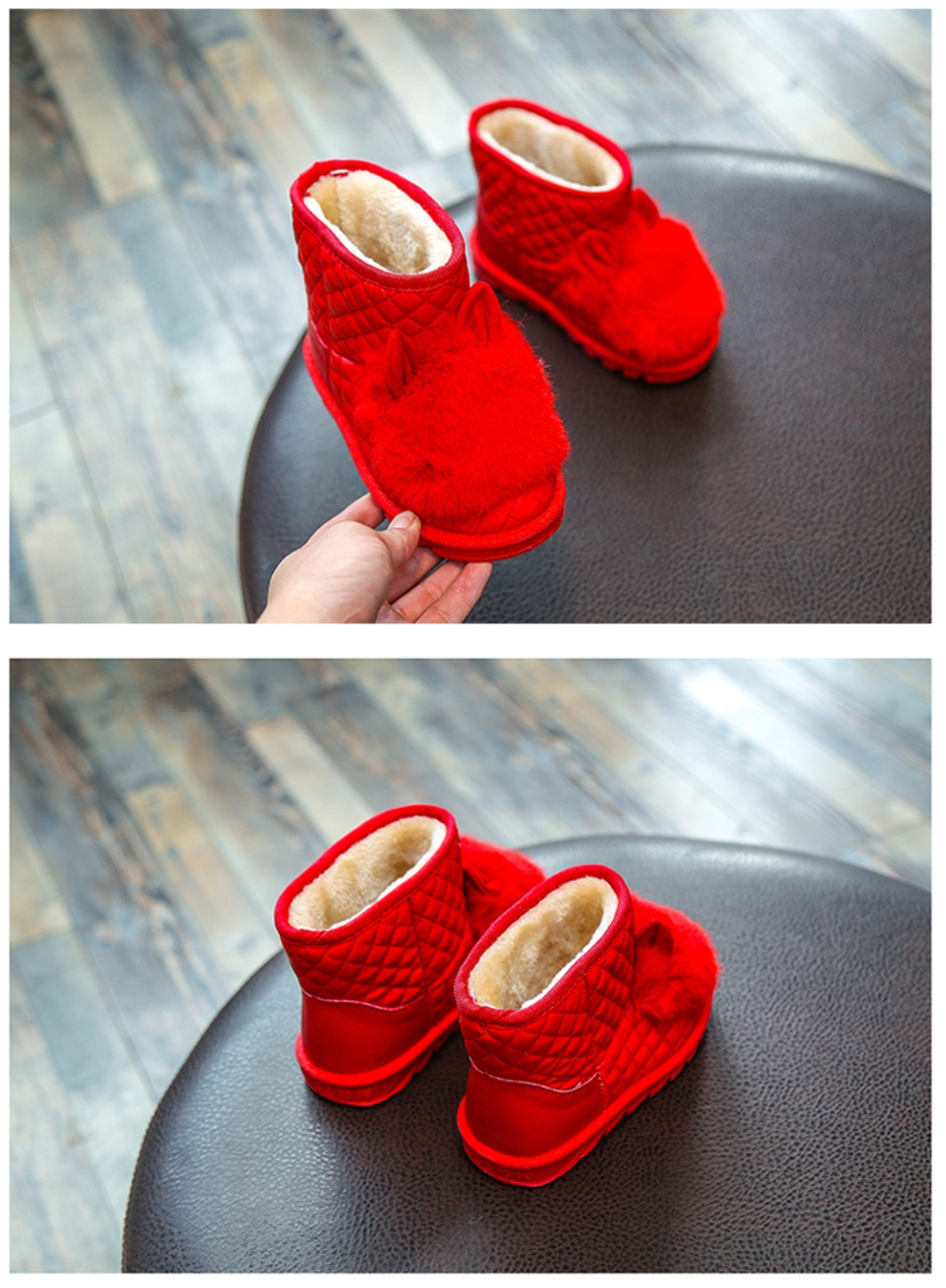 Winter Rabbit Girls Faux Suede Slip On Snow Boots